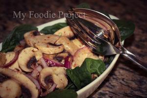 Spinach & Lemon  Mushroom Salad
